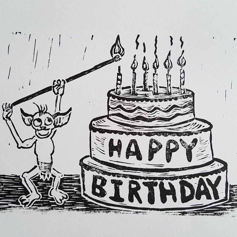 Happy Goblin Birthday Card