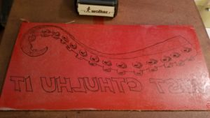 I tinted it with red ink to more easily see where I carved