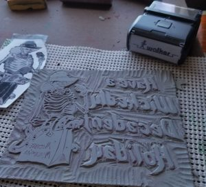 Carved lino block ready to print